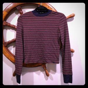 Shein crop top, navy pink stripes size m